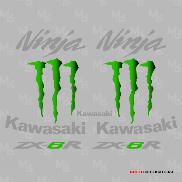 Комплект наклеек Kawasaki ZX-6R Monster Energy 2009-2010